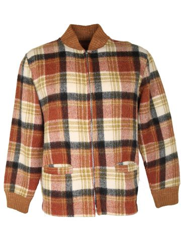Vintage 50s Check Wool Bomber Jacket - M