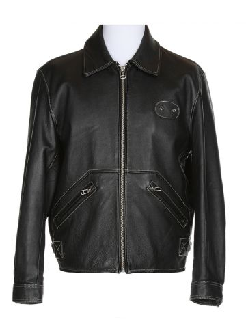Harley Davidson Black Leather Biker Jacket - L