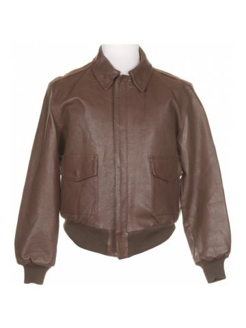 Brown Leather Hand Made A2 Style Flight Jacket - L