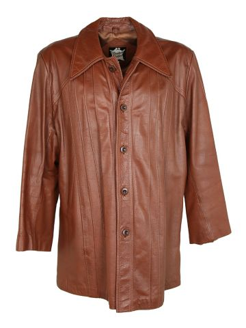 70s Brown Leather jacket with Pleated Detail - XL