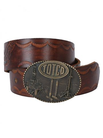 1981 Limited Edition Totco Oil Buckle and Brown  Tooled leather belt