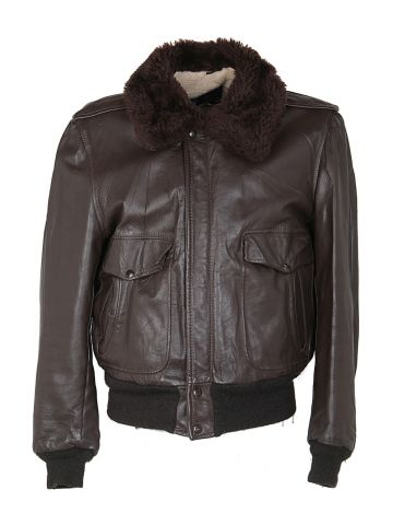 70s Lesco Brown Leather Flight Jacket - M