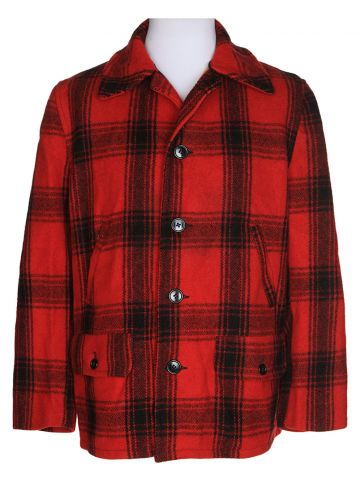 Vintage 1960s Pine Crest Red Checked Wool CPO Hunting Jacket - L
