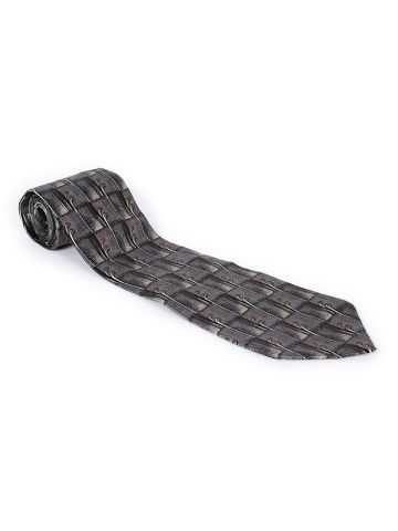 90s Pierre Cardin Grey Patterned Silk Tie