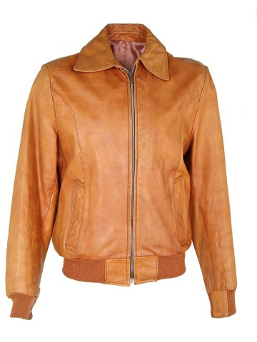 70s Tan Brown Leather Zip-Up Jacket - L