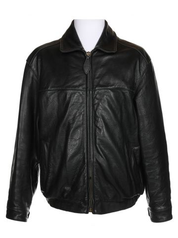 Andrew Marc Black Bomber Leather Jacket - L