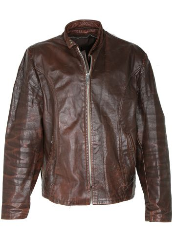 Vintage 60s Brown Leather Cafe Racer Biker Jacket - XL
