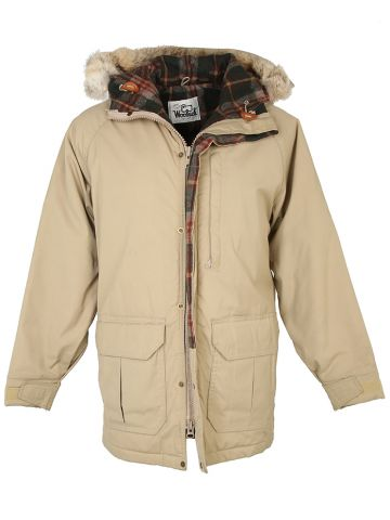 Beige Woolrich Hooded Parka Coat - M