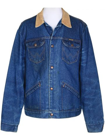 Wrangler Indigo Denim Fleece Lined Jacket - L