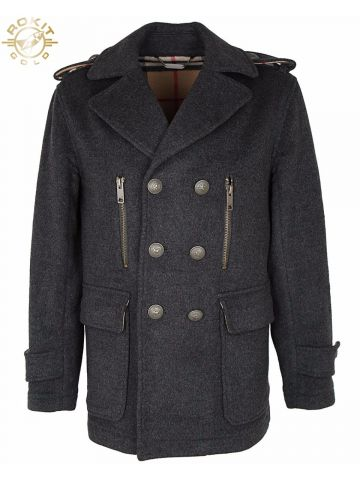 Grey Wool Burberry Pea Coat - M
